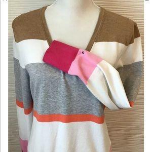 Multicolor Striped V Neck Sweater